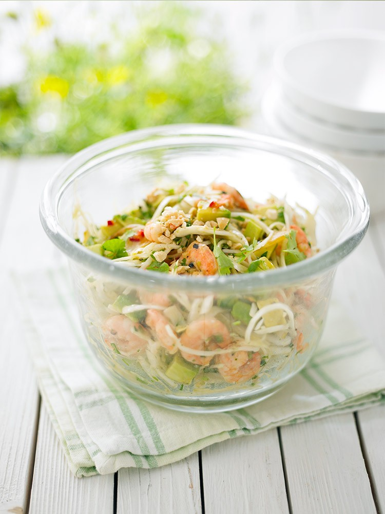 Avocado, Prawn and Cabbage Salad with Apricot Dressing